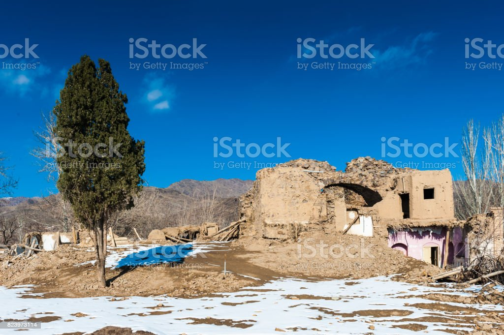 Ruins in an abandoned village in Iran stock photo