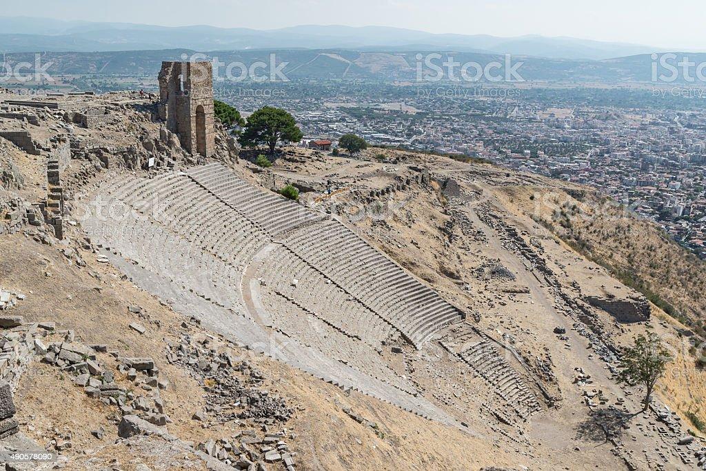 Ruins in ancient amphitheater, Acropolis of Pergamum, Turkey stock photo