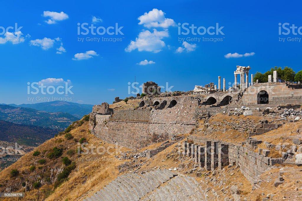 Ruins in ancient city of Pergamon Turkey stock photo