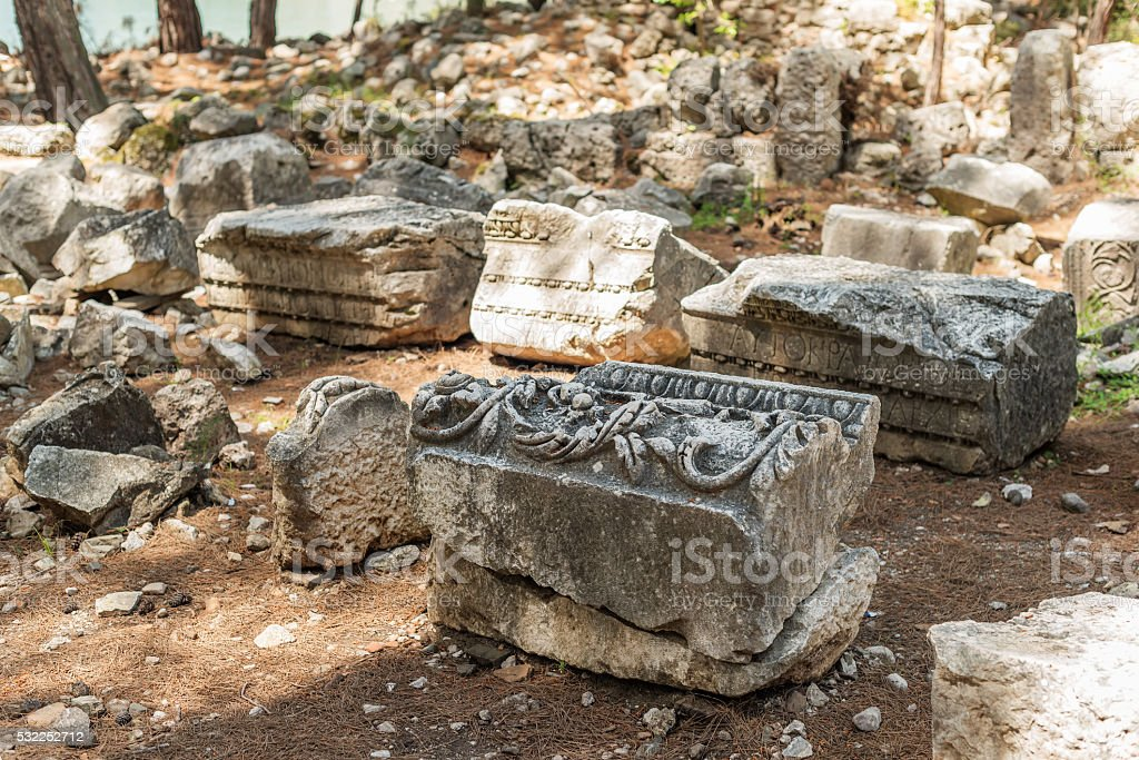 Ruins in Antique city of Phaselis, Turkey stock photo