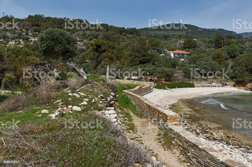 Ruins in Archaeological site of Aliki, Thassos island, Greece stock photo