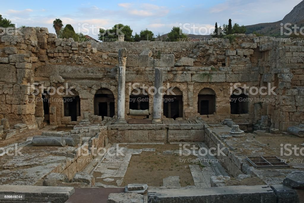 Ruins in Corinth, Greece - archaeological site stock photo