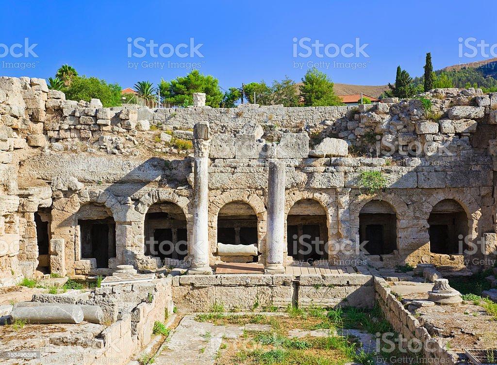 Ruins in Corinth, Greece stock photo