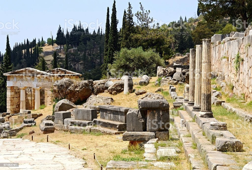 ruins in Delphi stock photo