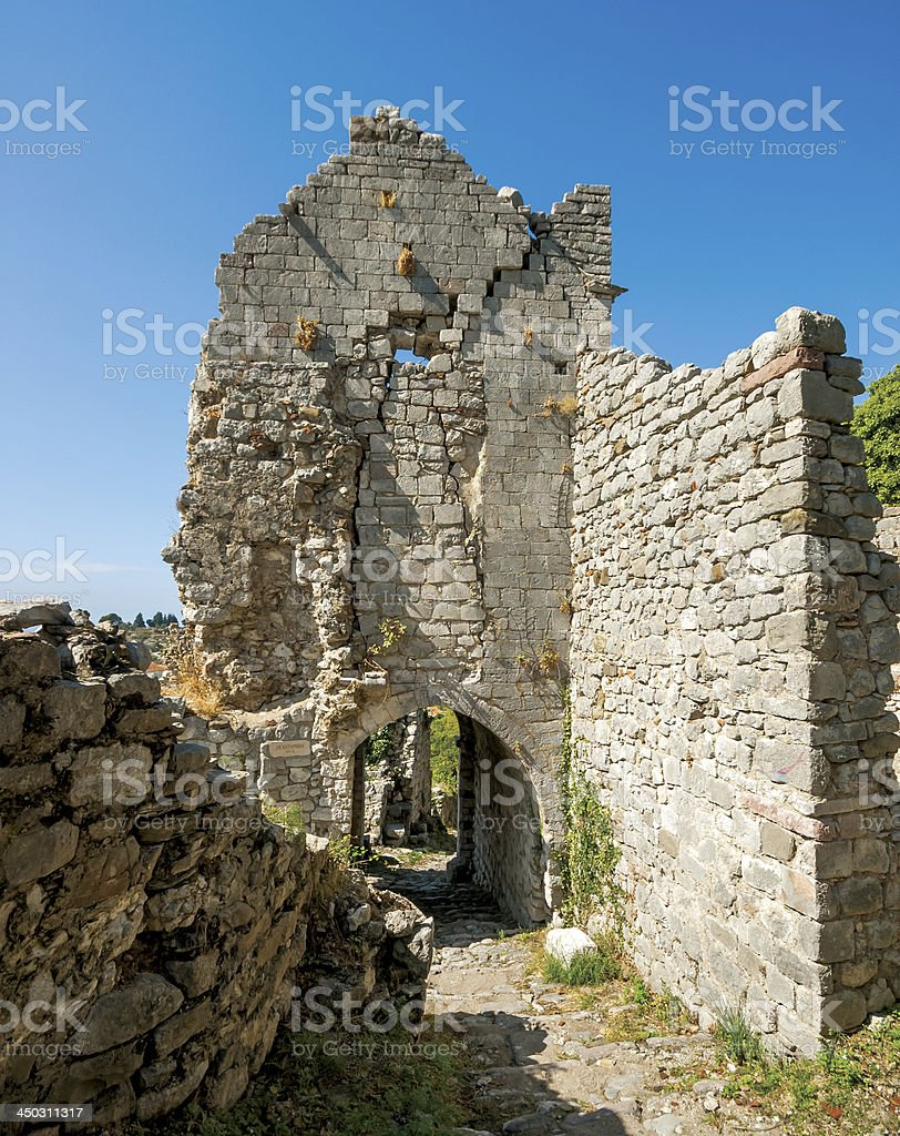 Ruins in Old town of Bar, Montenegro stock photo