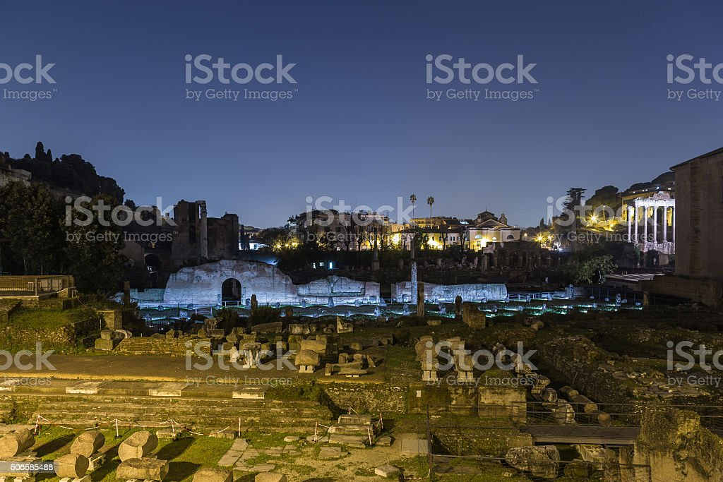 Ruins in Rome at Night stock photo