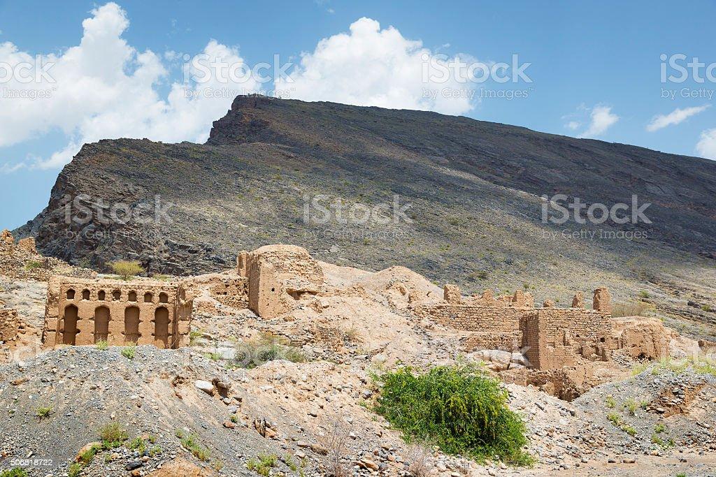 Ruins in Tanuf Oman stock photo