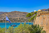 Ruins in the abandoned leper colony Spinalonga, Crete