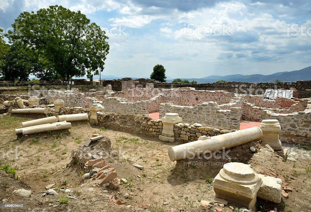 Ruins in the ancient Roman town Nicopolis ad Nestum stock photo