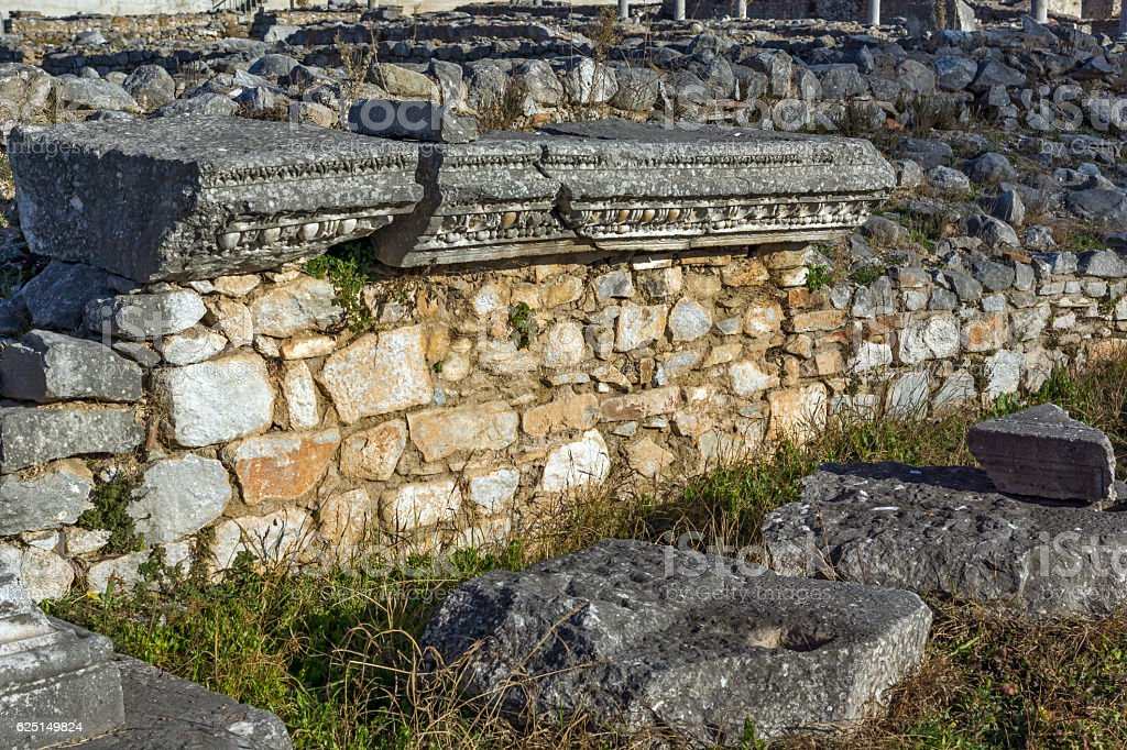 Ruins in the archeological area of ancient Philippi, Greece stock photo