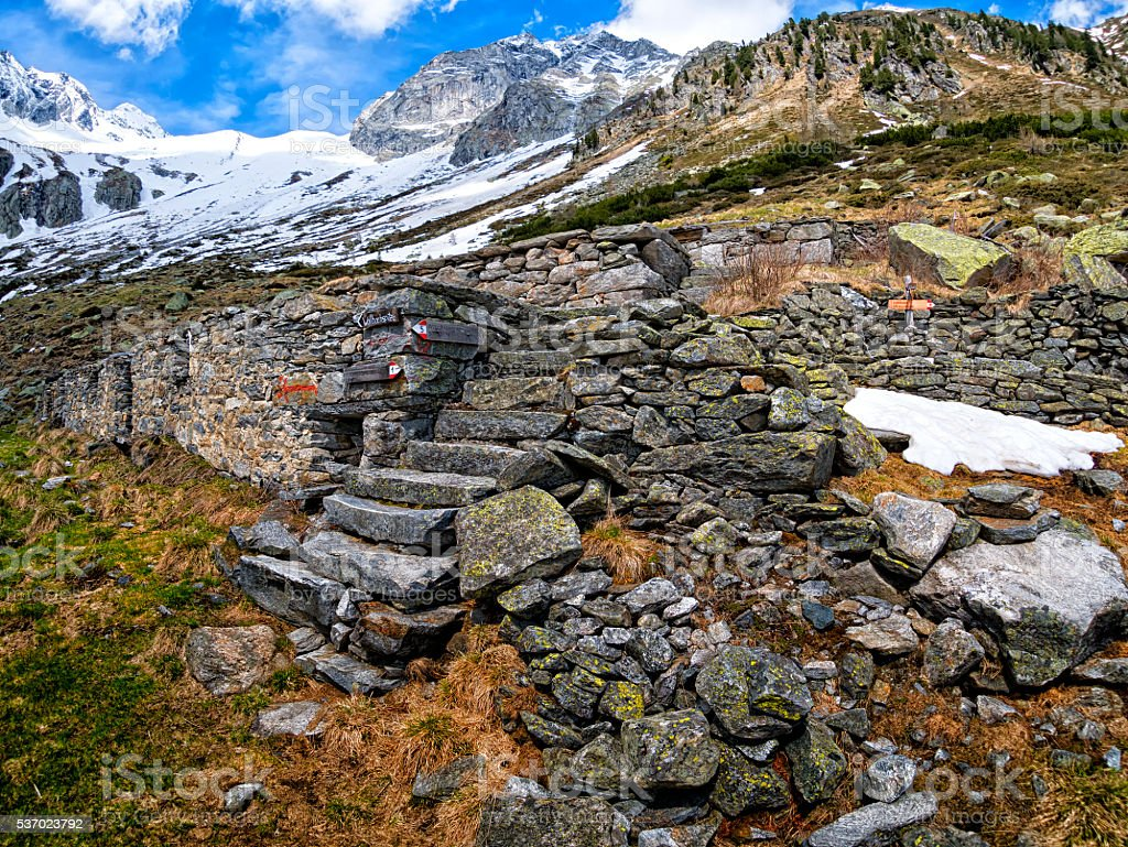 Ruins in the Dolomites stock photo