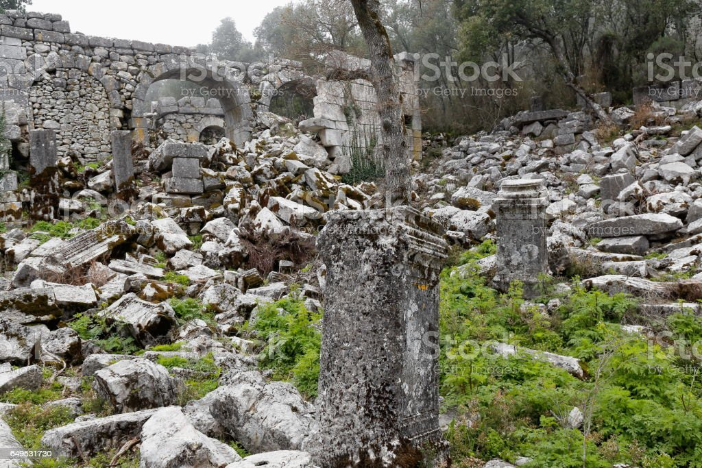 Ruins in the gymnasium and the baths complex. Termessos-Turkey. 1919 stock photo