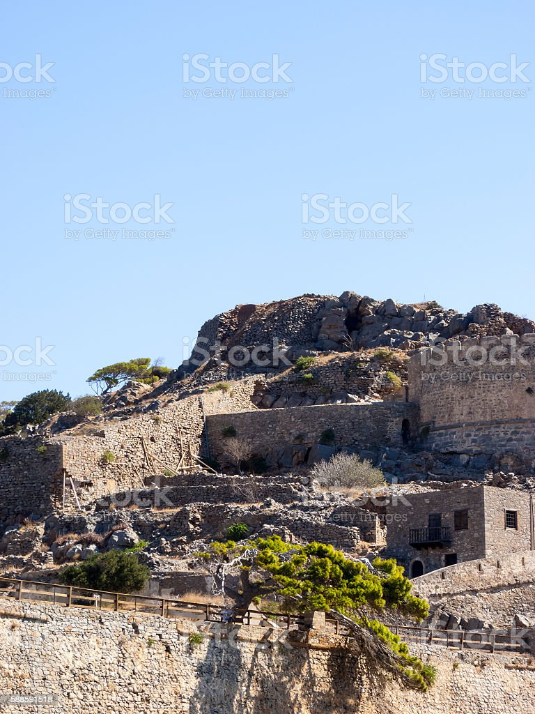 Ruins in the historic leper colony at Island Kalidon stock photo