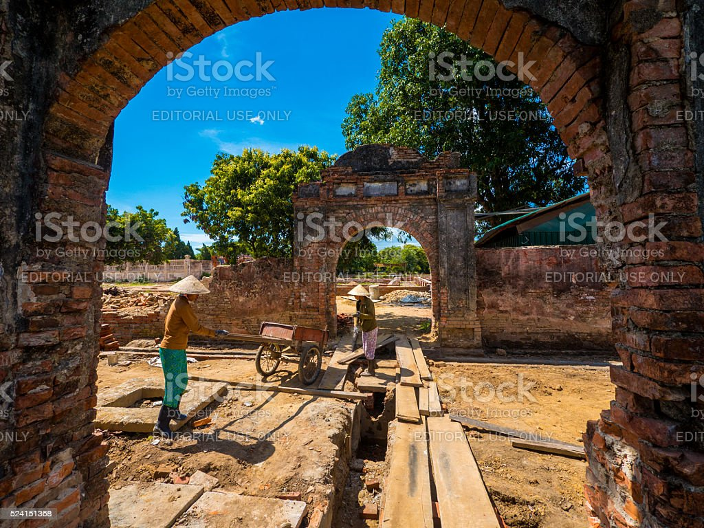 Ruins in the Imperial City in Hue, Vietnam stock photo