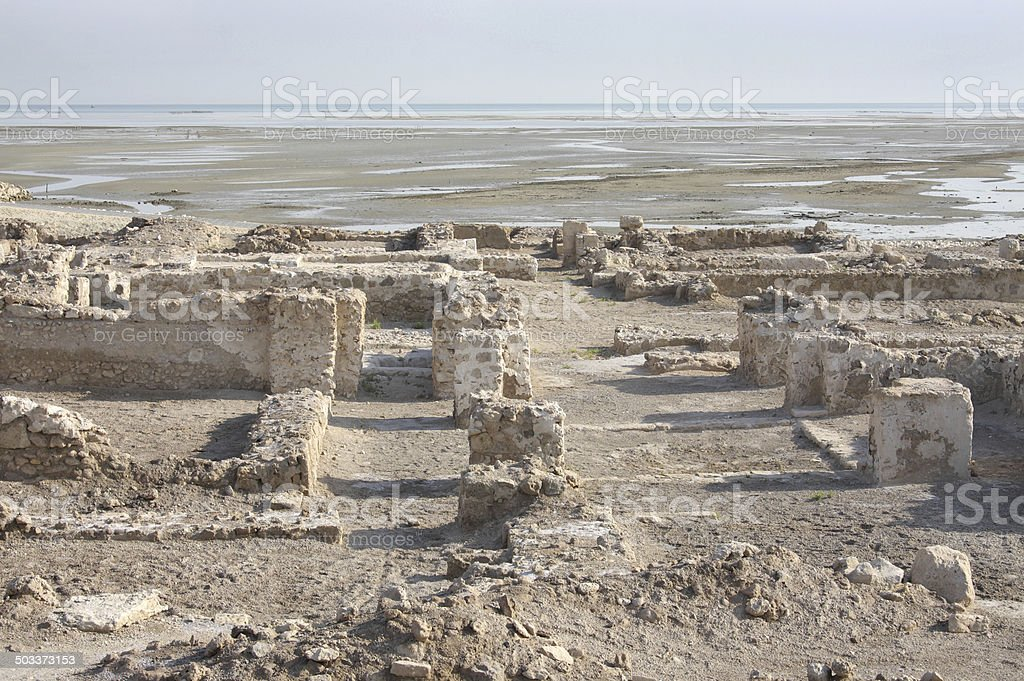 Ruins in the north of Main Bahrain fort near sea stock photo