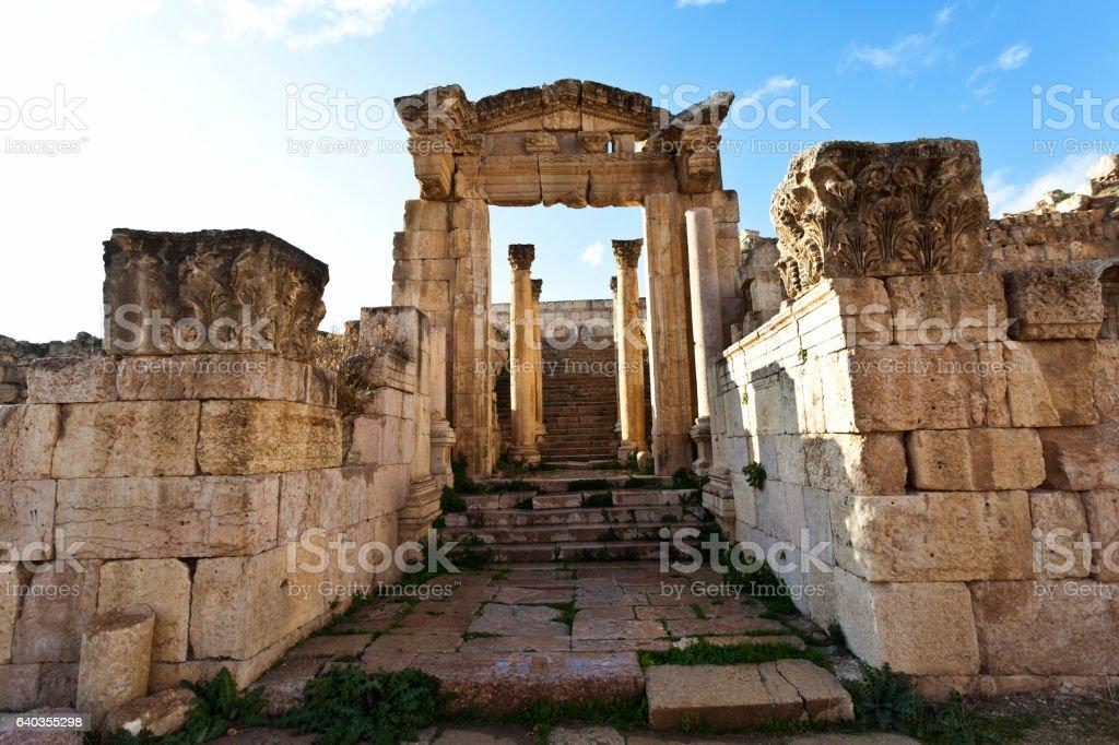 Ruins in the Roman City of Jerash in Jordan stock photo