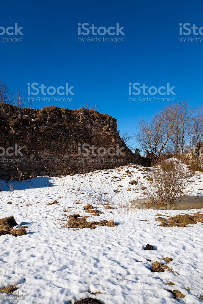 ruins Krevo Belarus stock photo