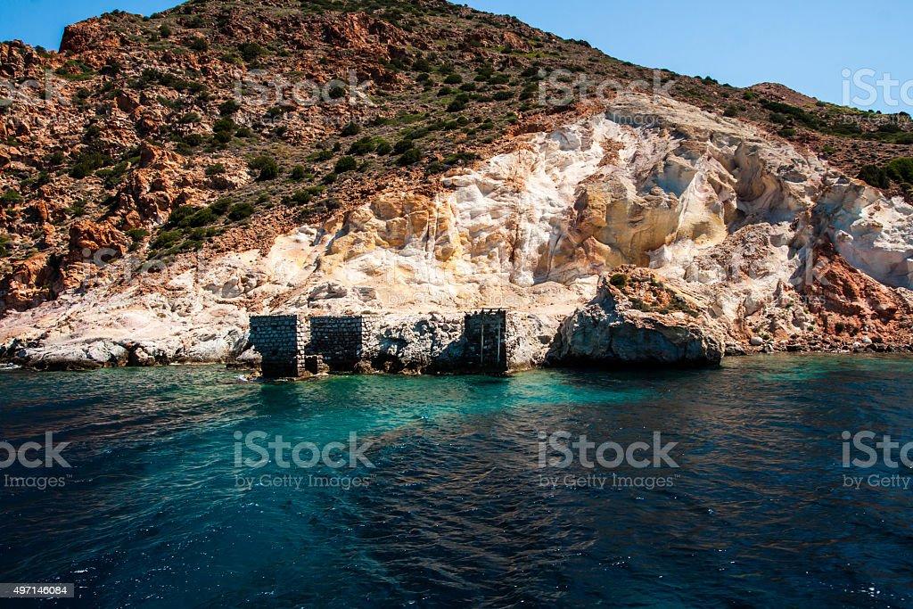 Ruines à proximité de Milos photo libre de droits