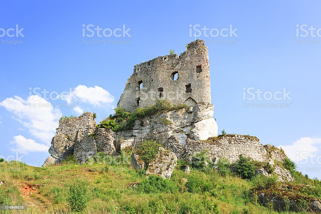 Ruins od medieval castle in Mirow, Poland stock photo