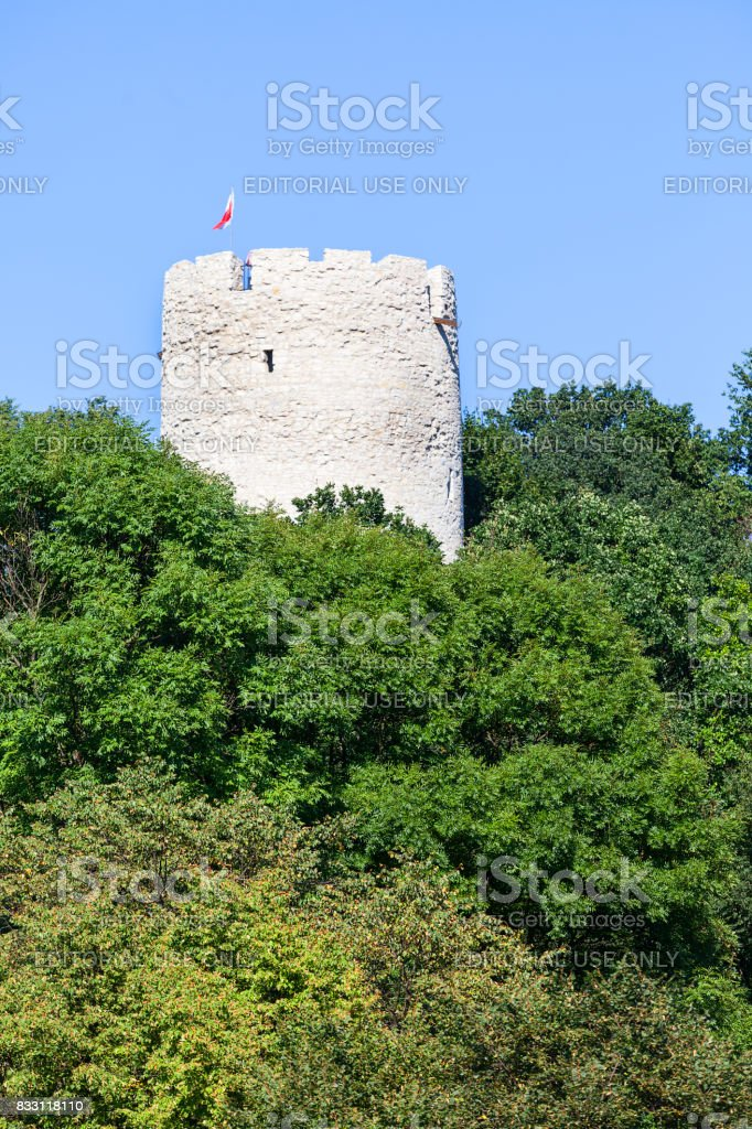 Ruins of 14th century Kazimierz Dolny Castle, defensive fortification,tower,  Poland stock photo