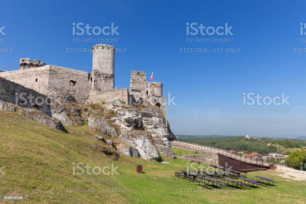 Ruins of 14th century medieval castle, Ogrodzieniec Castle,Trail of the Eagles Nests, Podzamcze, Poland stock photo