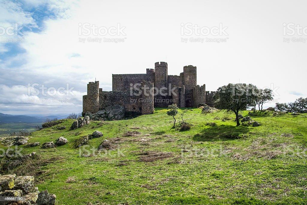 Ruins of a castle at Salvatiera de los Barros stock photo