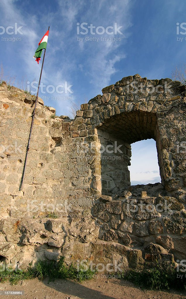 Ruins of a castle in Hungary stock photo