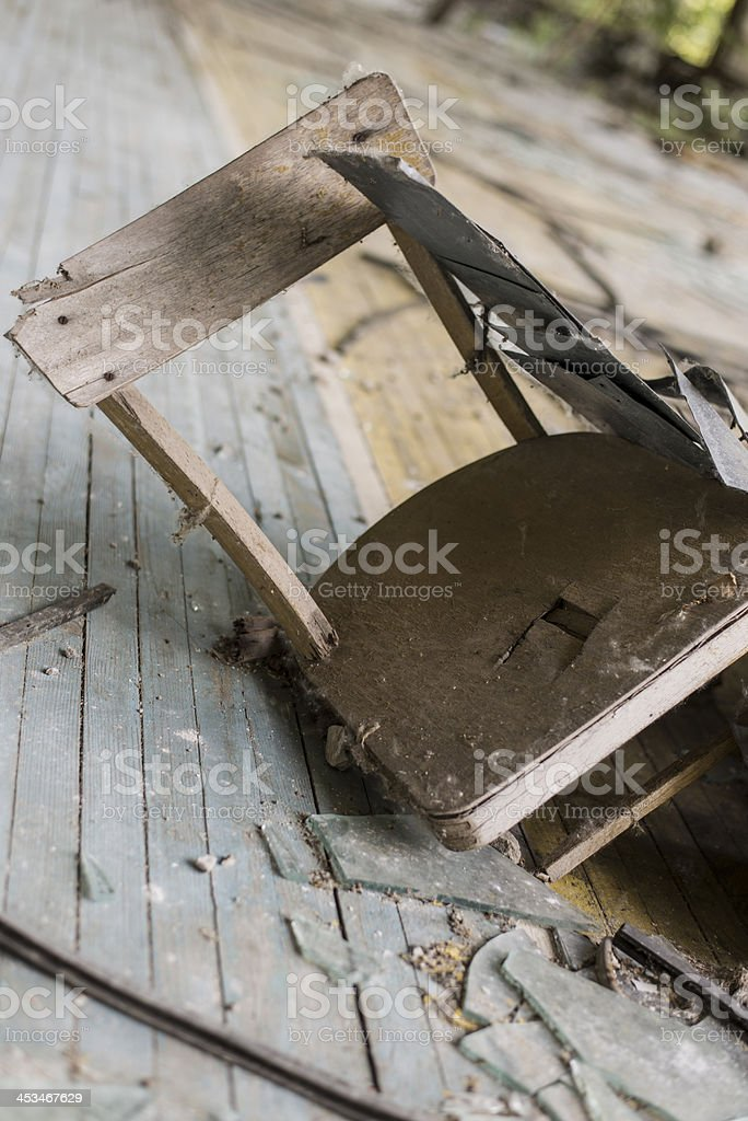 Ruins of a chair (Pripyat/Chernobyl) royalty-free stock photo