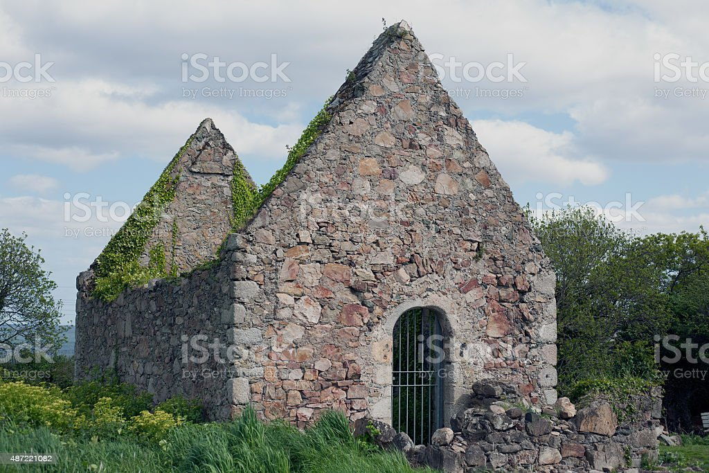 Ruins of a chapel in Redford park, Greystones royalty-free stock photo