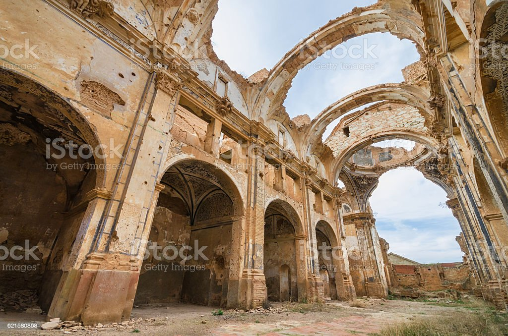 Ruins of a church destroyed during the spanish civil war. stock photo