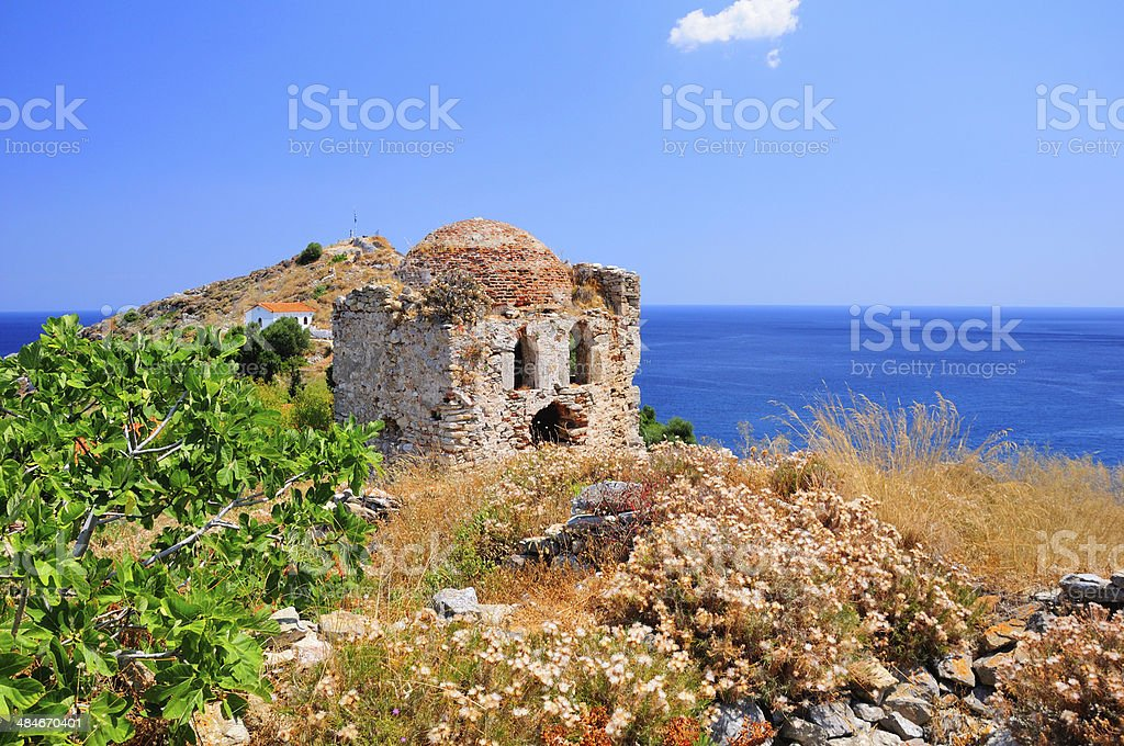 Ruins of a fortress in Kastro, on Skiathos island, Greece stock photo