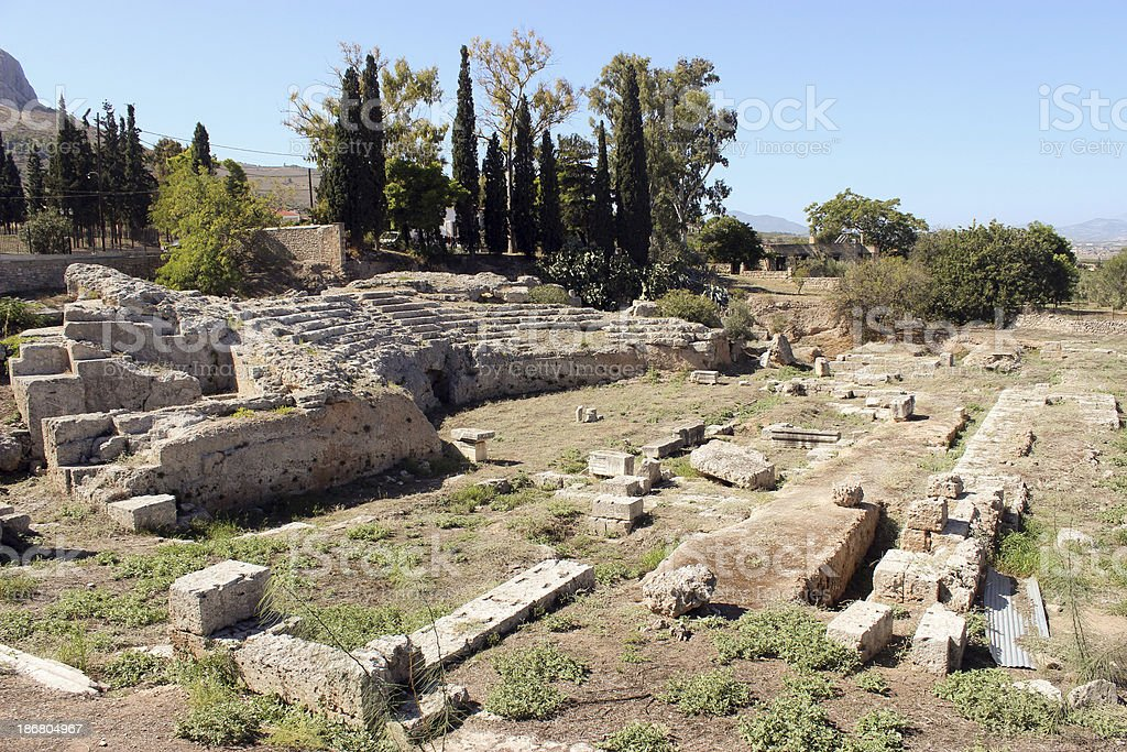Ruins of a Theatre at Ancient Corinth - Greece royalty-free stock photo