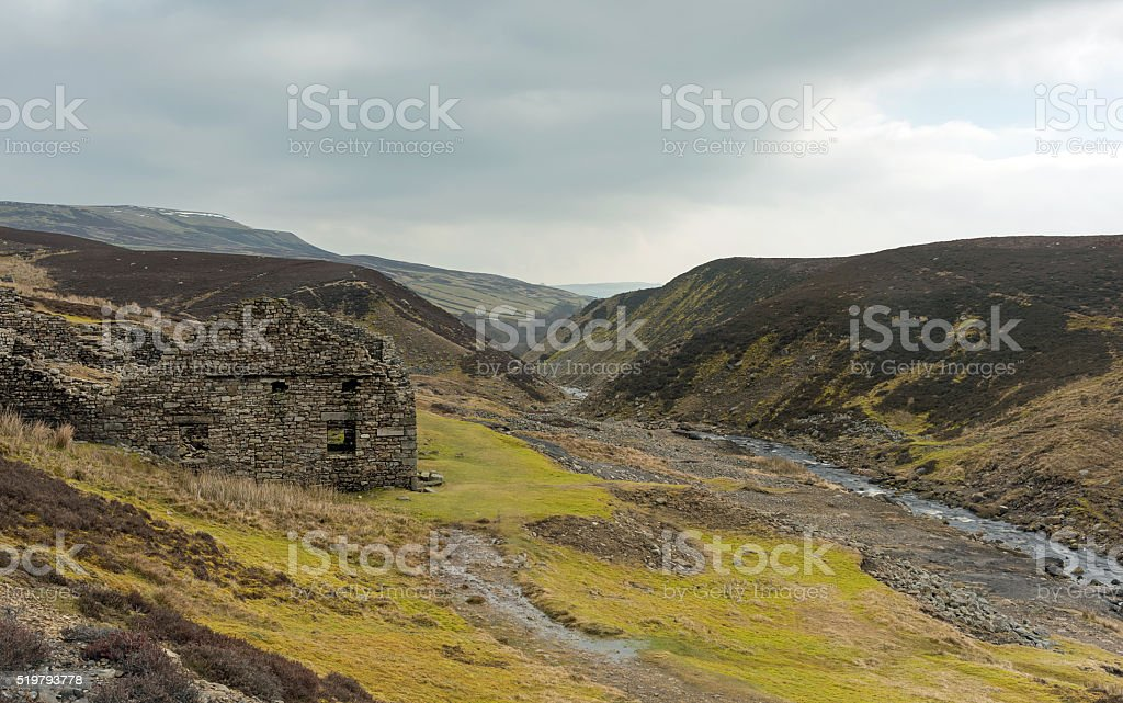 Ruins of a Yorkshire Dales Smelting Mill stock photo