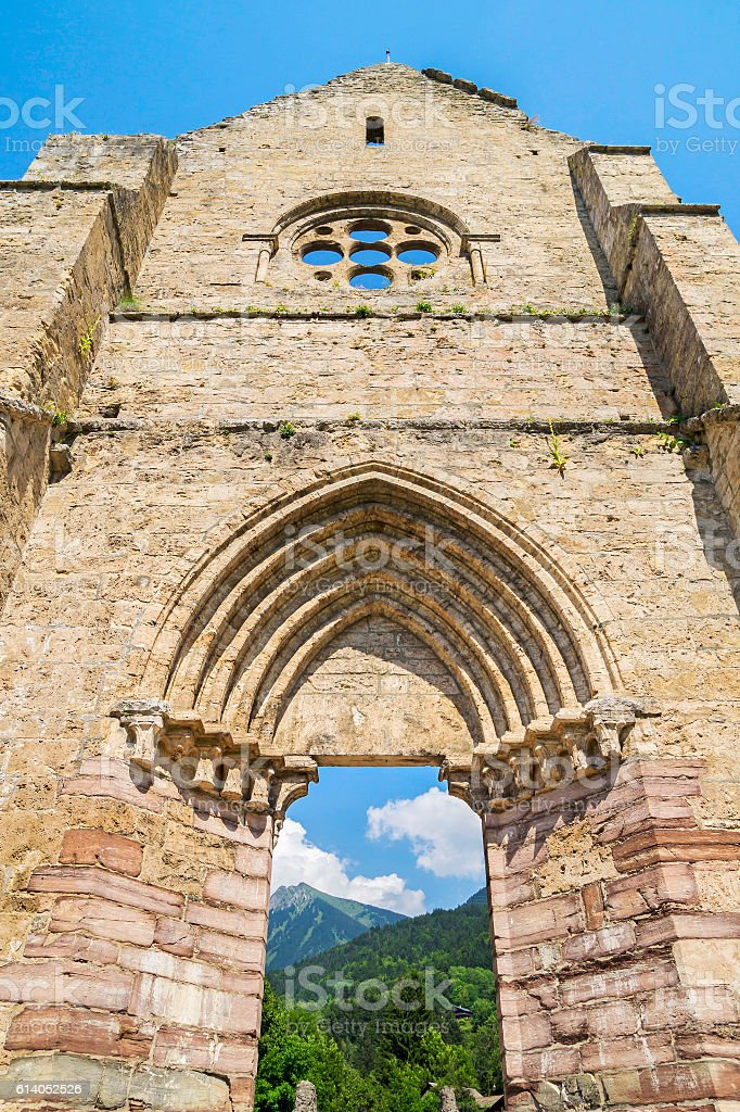 Ruins of abbey Saint Jean d'Aulps, France stock photo