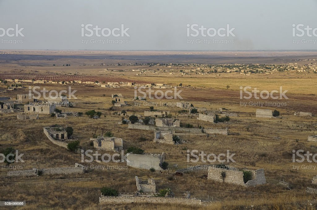 Ruins of Agdam city in Nagorno Karabakh Republic. Azerbaijan stock photo