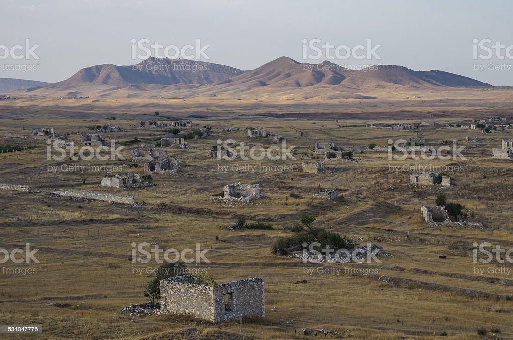 Ruins of Agdam city in Nagorno Karabakh Republic. stock photo