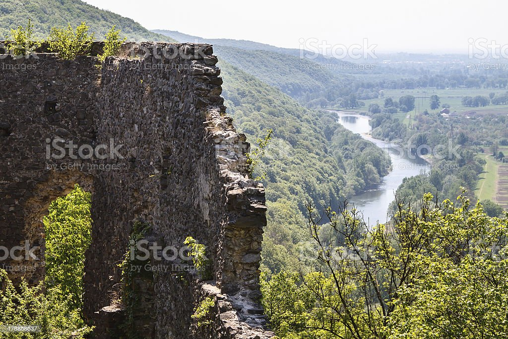 ruins of an ancient castle on the hill royalty-free stock photo