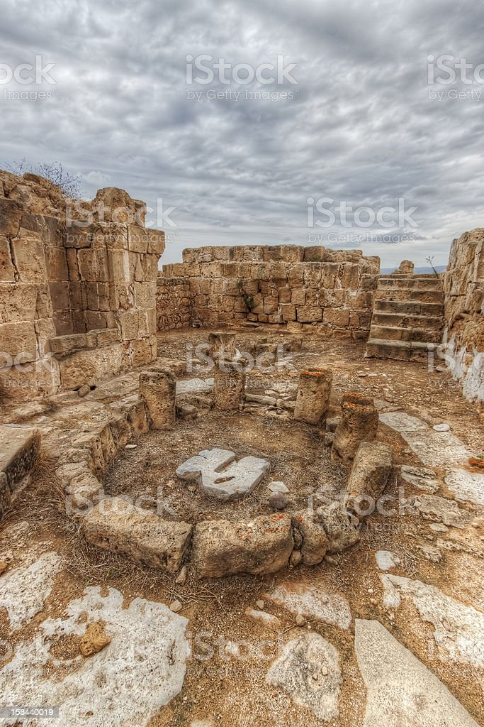 Ruins of an ancient roman temple in Paphos, Cyprus royalty-free stock photo