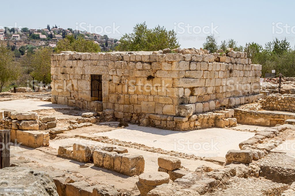 Ruins of an ancient synagogue in the Biblical Shiloh, Israel stock photo