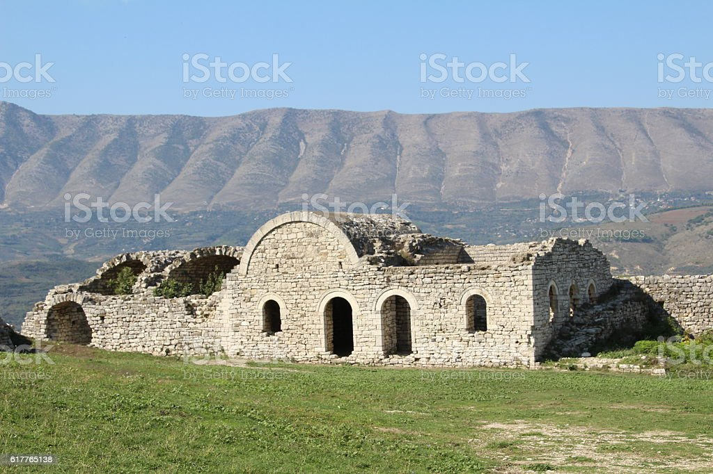Ruins of an old garrison building stock photo