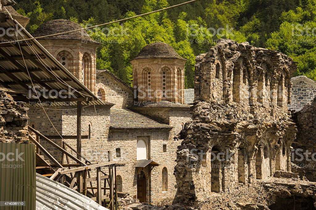 Ruins of an old monastery on Mount Olympus stock photo