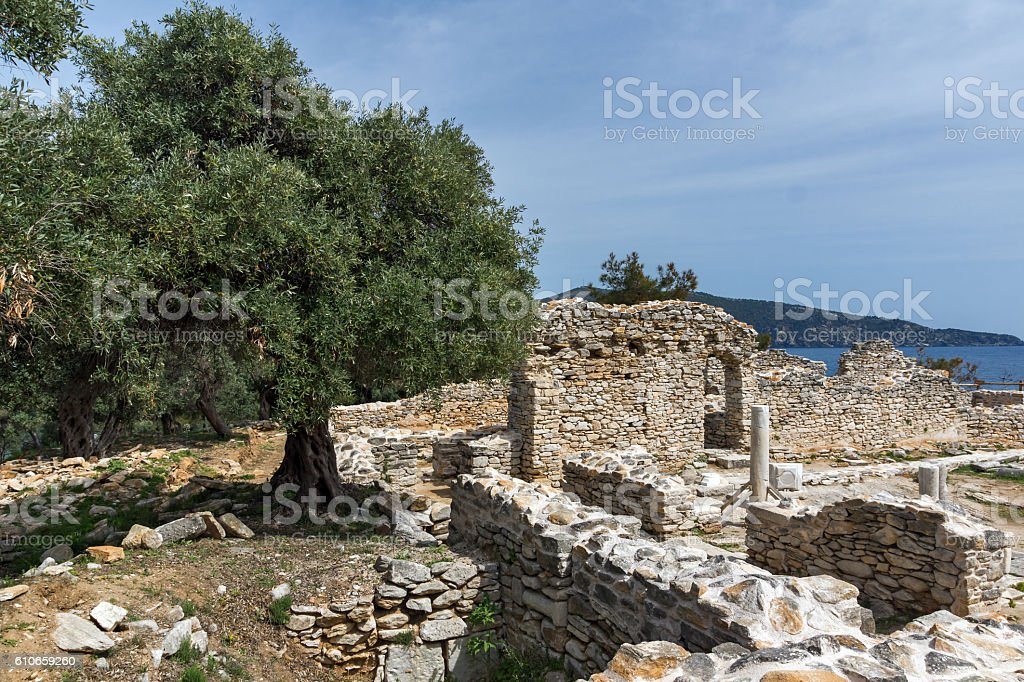 Ruins of ancient church in Archaeological site of Aliki, Thassos stock photo