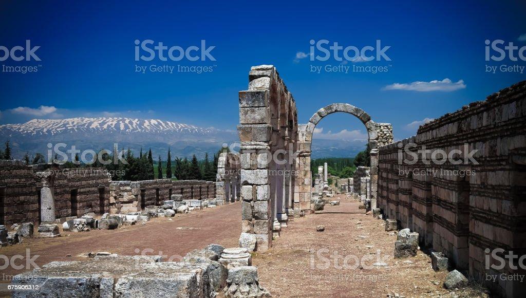 Ruins of ancient city Anjar in Bekaa valley, Lebanon stock photo