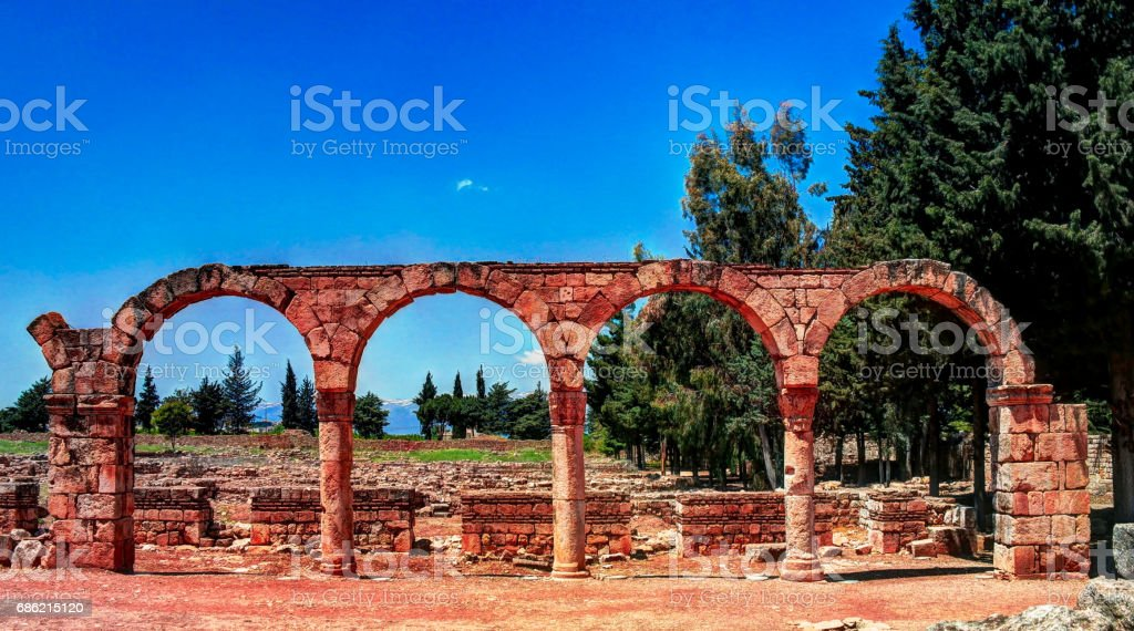 Ruins of ancient city Anjar in Bekaa valley Lebanon stock photo