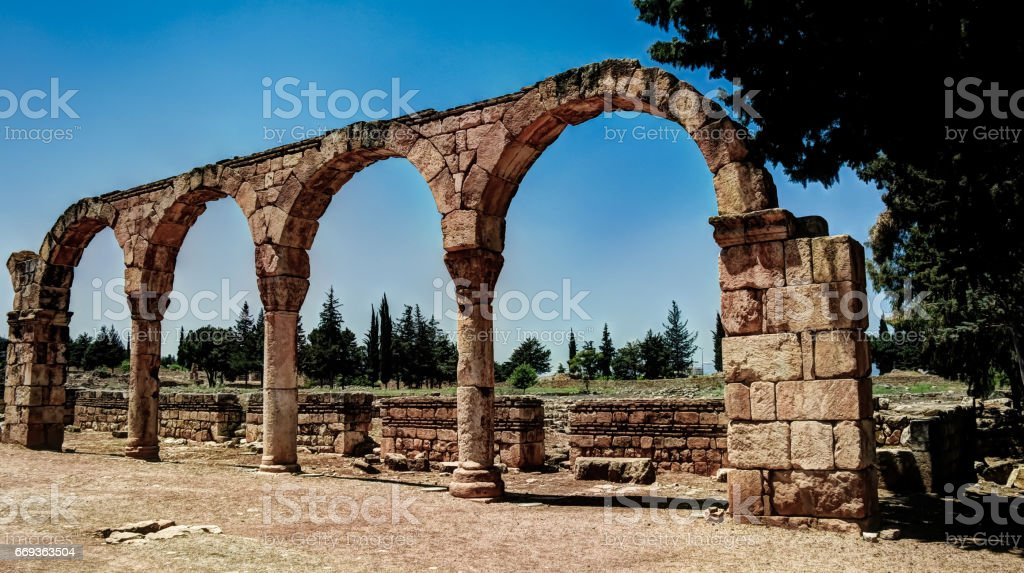 Ruins of ancient city Anjar in Bekaa valleyLebanon stock photo