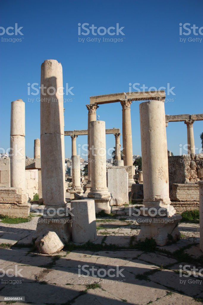 Ruins of ancient city of Jerash in Jordan, Middle East stock photo
