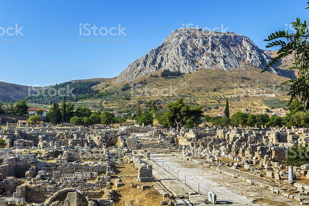 ruins of Ancient Corinth, Greece stock photo