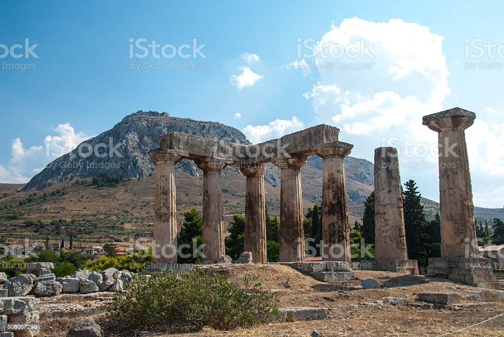 Ruins of Ancient Corinth, Greece stock photo