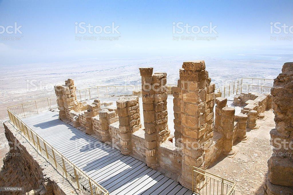 Ruins of ancient fortress Masada, Israel stock photo