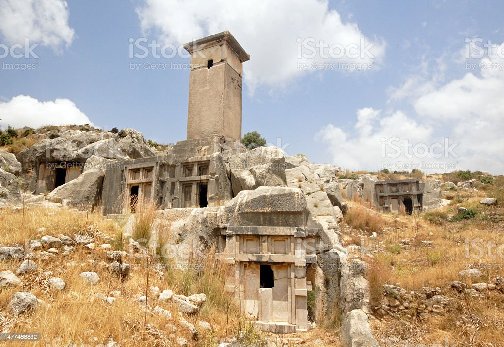 Ruins of ancient greek houses in Letoon, Turkey stock photo